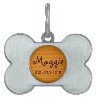 Wood Grain Bone Shaped Customizable Name Dog Tag