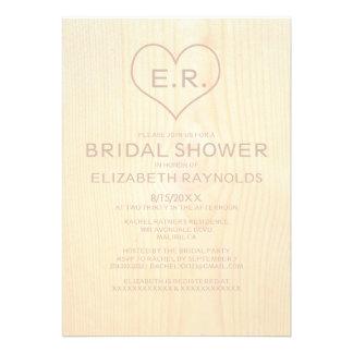 Wood Grain Bridal Shower Invitations Custom Announcement