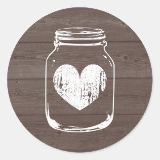 Wood grain country chic mason jar wedding stickers