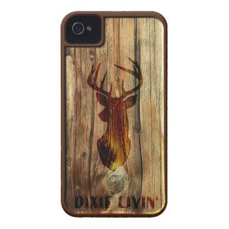 Wood-grain Deer Head by Dixie Livin iPhone 4 Case-Mate Cases