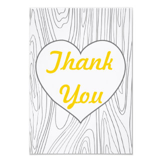Wood Grain flat thank you cards - Yellow and Grey 9 Cm X 13 Cm Invitation Card