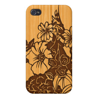 Wood Grain Floral 4G  Cover For iPhone 4