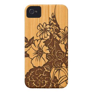 Wood Grain Floral iPhone 4 Case-Mate Case