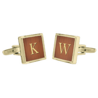 Wood Grain Gold Initial Square Cufflinks Gold Finish Cufflinks