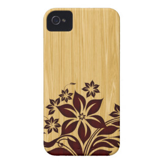 Wood Grain iPhone 4G Wood Burnt Flowers iPhone 4 Case-Mate Cases
