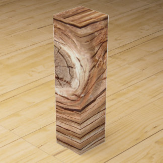 Wood Grain Knothole Wine Bottle Box