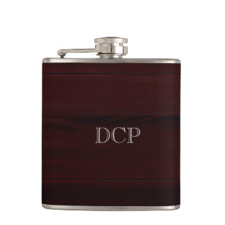 Wood Grain Look Monogrammed Flask