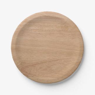 Wood grain paper plate