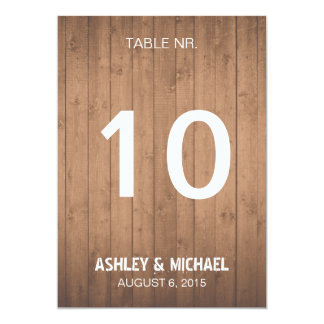 Wood Grain rustic wedding table numbers 13 Cm X 18 Cm Invitation Card