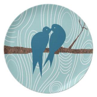 Wood Grain Teal Kissing Love Birds Sitting in Tree Dinner Plate
