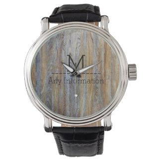 Wood Grain Texture Monogram #5 Watch