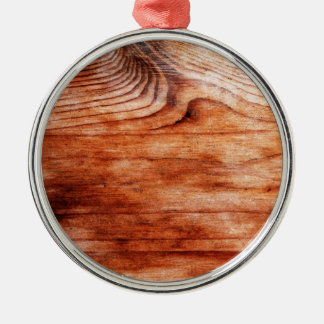Wood Grain Texture Silver-Colored Round Decoration