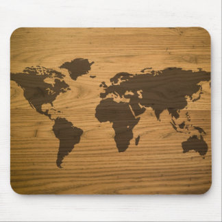 Wood Grain World Map Mouse Mat