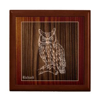 Wood Great Horned Owl Custom Large Square Gift Box