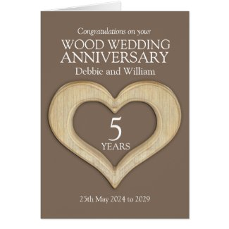 Wood heart 5th wedding anniversary names card