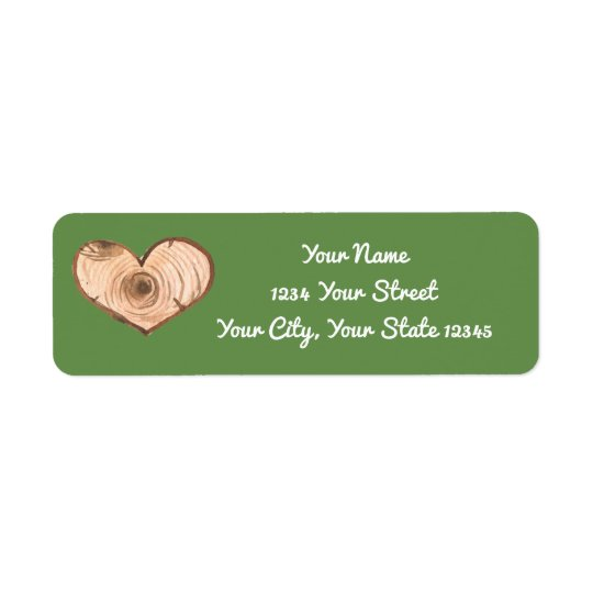 Wood Heart Address Label