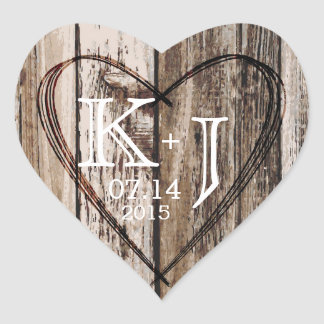 Wood Heart Etching Rustic Monogram Wedding Label Heart Sticker