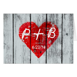 Wood Heart Initials Greeting Card