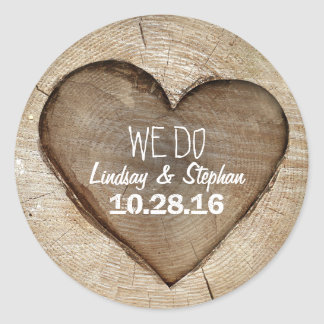 Wood Heart Rustic Wedding Round Sticker