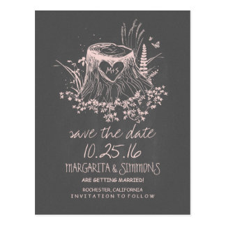 wood heart stump rustic country save the date postcard