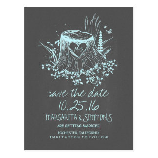 wood heart stump rustic country save the date postcards