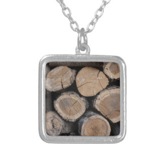 wood in the woodshed silver plated necklace