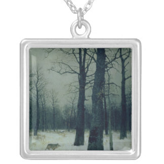 Wood in Winter, 1885 Silver Plated Necklace