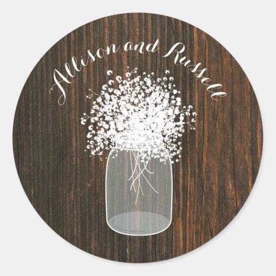 Wood Inspired Mason Jar Baby's Breath Wedding Classic Round Sticker