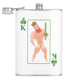 Wood king (king of clubs) hip flask