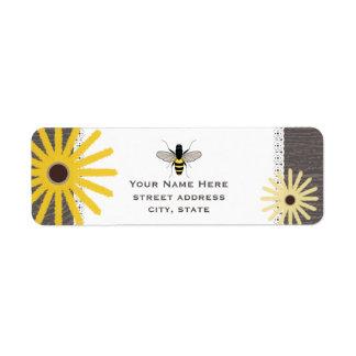Wood & Lace Inspired Black Eyed Susans Bee Label Return Address Label