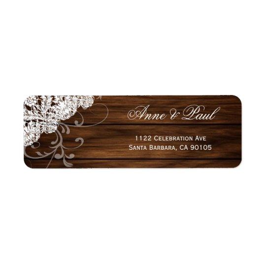 Wood & Lace Wedding Address Labels
