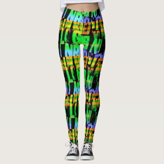 Wood letters and numbers neon leggings