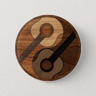 Wood Look Acoustical Guitar Yin Yang 6 Cm Round Badge