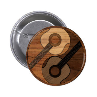Wood Look Acoustical Guitar Yin Yang 6 Cm Round Badge