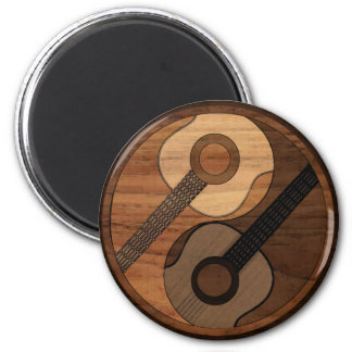 Wood Look Acoustical Guitar Yin Yang 6 Cm Round Magnet