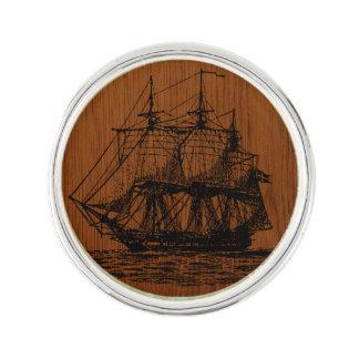 Wood Look Nautical Sailing Ship Lapel Pin