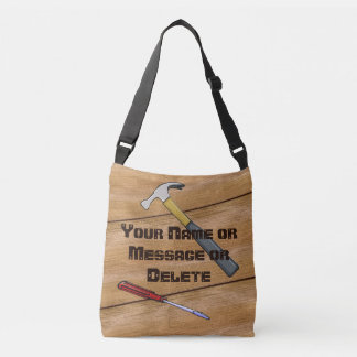 Wood look Personalized Carpenter Bag, Your Text Crossbody Bag