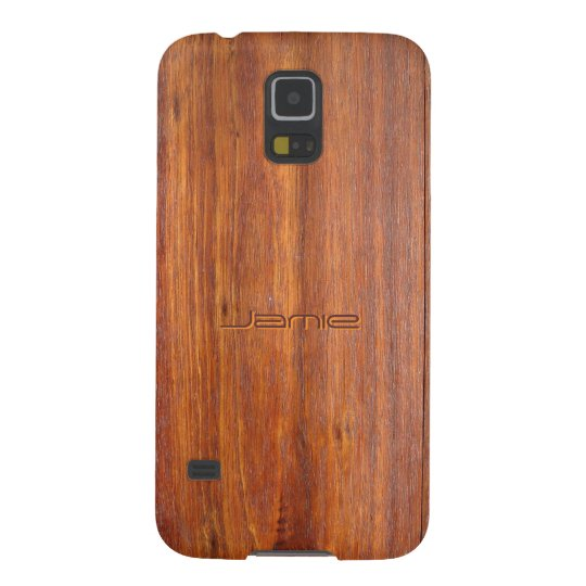 Wood look with custom engraved name galaxy s5 case