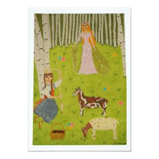 Wood Maiden 13 Cm X 18 Cm Invitation Card