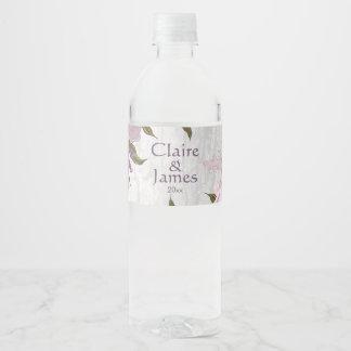 Wood & Mauve Flowers Water Bottle Label