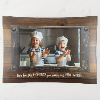 Wood & Metal - Rustic Faux Finish   Family Photo Trinket Trays