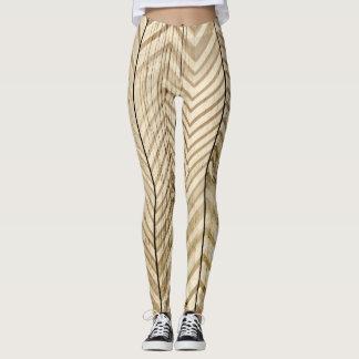 Wood & Metallic Chevron Stripe Leggins Leggings