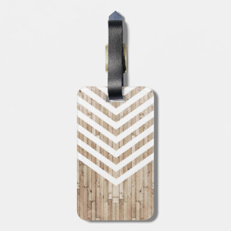 Wood minimalist chevron bag tag