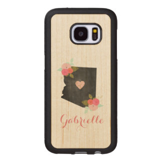 Wood Monogram Arizona State Moveable Heart City Wood Samsung Galaxy S7 Case