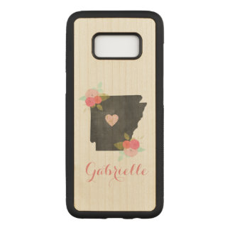Wood Monogram Arkansas State Moveable Heart City Carved Samsung Galaxy S8 Case