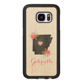 Wood Monogram Arkansas State Moveable Heart City Wood Samsung Galaxy S7 Case