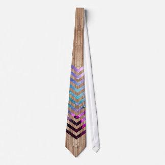 Wood nebula chevron tie