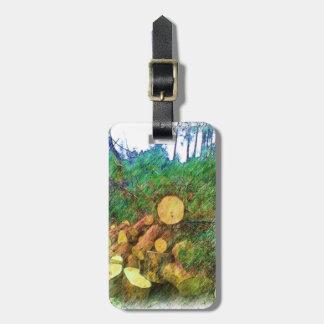 Wood of tree luggage tag