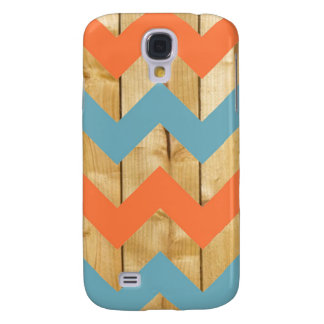 Wood orange blue chevron zigzag zig zag pattern galaxy s4 case