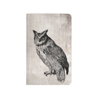 Wood owl bird pocket journal